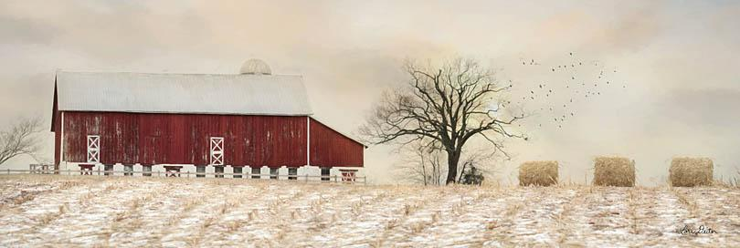 Lori Deiter LD1217 - A Sign of Life - Barn, Haystacks, Field, Winter, Snow from Penny Lane Publishing