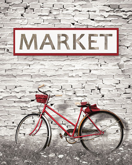 Lori Deiter LD1270 - At the Market Market, Black & White, Red, Bike, Bicycle, Peeling Paint from Penny Lane
