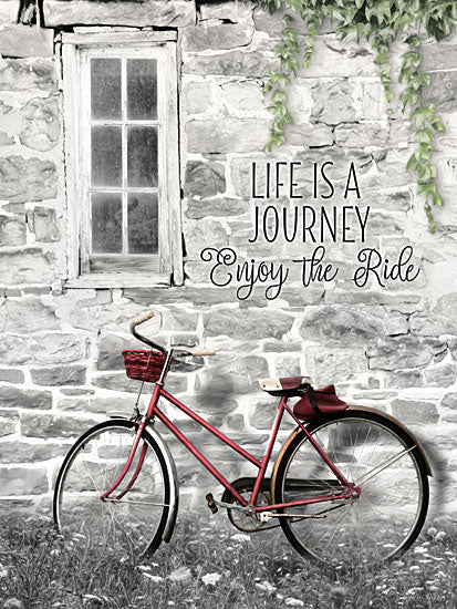 Lori Deiter LD1340 - Life is a Journey Life is a Journey, Bike, Bicycle, Stone House from Penny Lane
