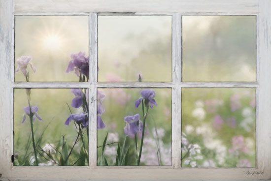 Lori Deiter LD1377 - Framed Flowers  Window, Window Frame, Wildflowers, Flowers, Purple from Penny Lane