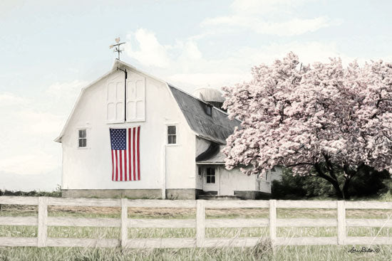 Lori Deiter LD1415 - Brownsville Patriot Barn, Farm, Flowering Tree, American Flag from Penny Lane