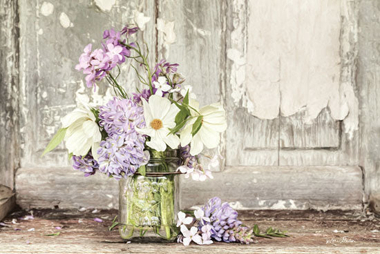 Lori Deiter LD1425 - Summer Bouquet Flowers, Purple and White Flowers, Blooms, Glass Bottle from Penny Lane