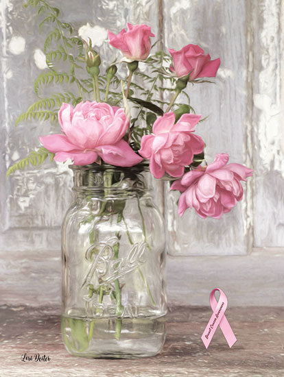 Lori Deiter LD1443 - Pink Roses for Breast Cancer Awareness Ball Jar, Jar, Flowers, Pink Roses, Breast Cancer Awareness from Penny Lane