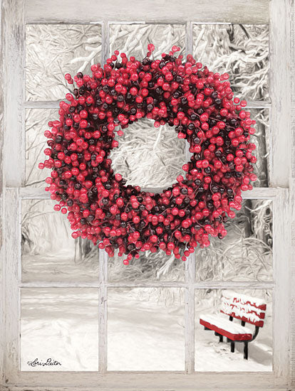 Lori Deiter LD1465 - Beaded Wreath View I Berries, Wreath, Window, Park Bench, Snow, Winter, Red from Penny Lane