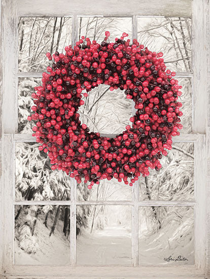 Lori Deiter LD1466 - Beaded Wreath View II Berries, Wreath, Window, Path, Road, Snow, Winter, Red from Penny Lane