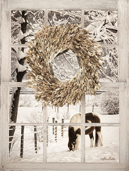 Lori Deiter LD1467 - Winter Horse Window View Window, Wreath, Wheat, Snow, Winter, Horse, Grazing from Penny Lane