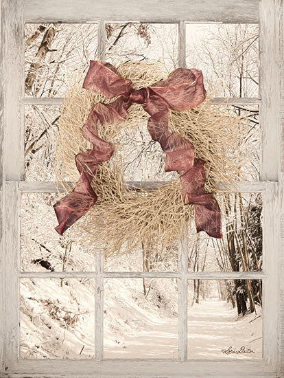 Lori Deiter LD1468 - Snowy Day Window View Wreath, Ribbon, Bow, Window, Winter, Snow, Trees, Path from Penny Lane