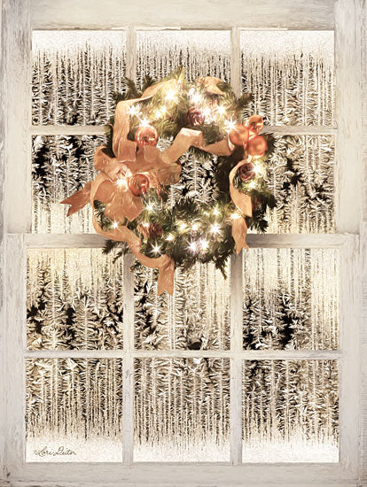 Lori Deiter LD1469 - Frosted Pane Window View Wreath, Ribbon, Bow, Winter, Christmas Lights, Frost, Window from Penny Lane