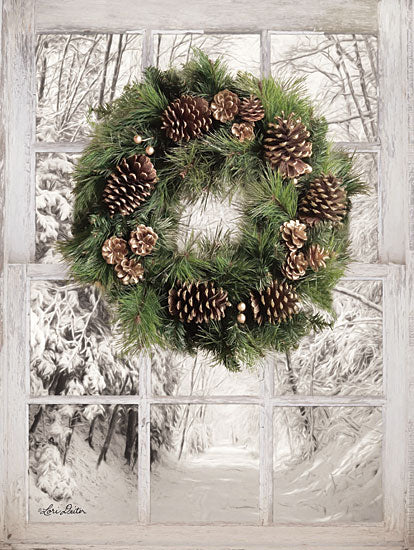Lori Deiter LD1470 - Pine Tree Window View Wreath, Pine Cones, Snow, Winter, Window, Trees, Path from Penny Lane