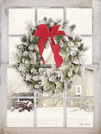 Lori Deiter LD1471 - On the Farm Window View Window, Wreath, Pine Needles, Tractor, Winter, Snow from Penny Lane