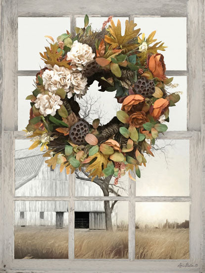 Lori Deiter LD1487 - Fall Window View I Window Pane, Wreath, Autumn, Barn, Farm, Country from Penny Lane