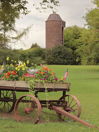 Lori Deiter LD1524 - Clayton Flower Wagon - 12x16 Flowers, American Flag, Wagon, Clayton from Penny Lane