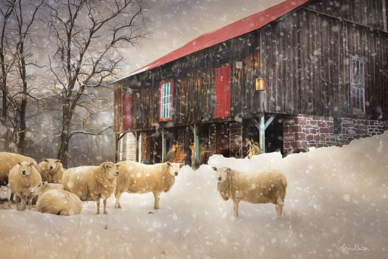 Lori Deiter LD1533 - Wool Coats - 18x12 Sheep, Snow, Barn, Winter, Farm, Herd from Penny Lane