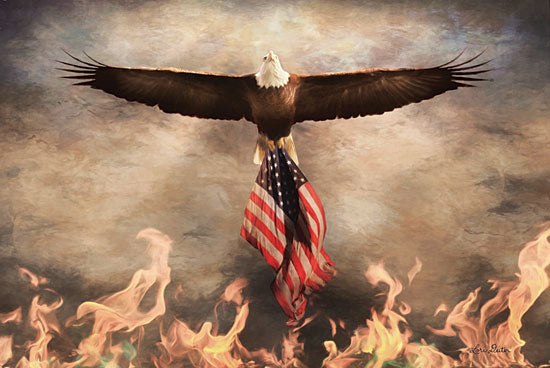 Lori Deiter LD1543 - Blaze of Glory - 18x12 Eagle, American Flag, Fire, Patriotic from Penny Lane