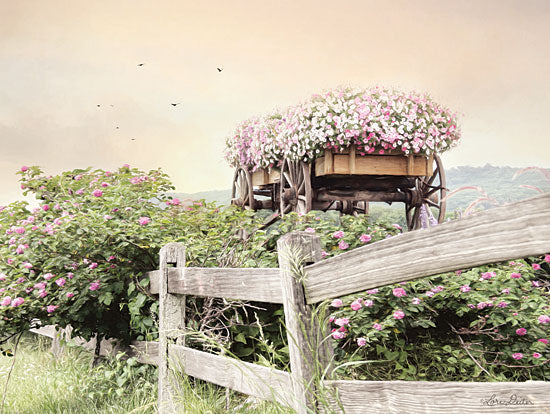 Lori Deiter LD1580 - LD1580 - Flower Wagon  - 16x12 Photography, Flower Wagon, Flowers, Fence, Birds from Penny Lane