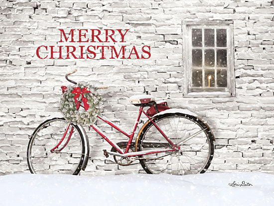 Lori Deiter LD1589 - LD1589 - Merry Christmas Bicycle   - 16x12 Signs, Typography, Snow, Christmas, Bicycle, Wreath, Window, Candle from Penny Lane