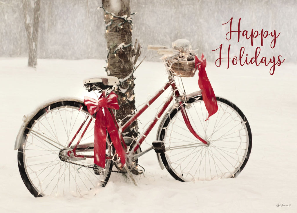 Lori Deiter LD1618 - LD1618 - Happy Holidays Snowy Bike  - 16x12 Christmas, Snow, Bicycle, Sign, Happy Holidays, Calligraphy from Penny Lane