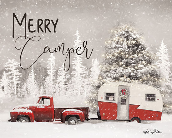 Lori Deiter LD1723 - LD1723 - Merry Camper   - 16x12 Camping, Camper, Truck, Winter, Snow, Trees from Penny Lane