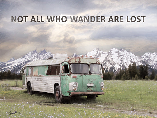 Lori Deiter LD1784 - LD1784 - Camping in Style - 16x12 No All Who Wander are Lost, Bus, Vintage, Mountains, Landscape from Penny Lane