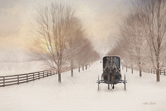 Lori Deiter LD1786 - LD1786 - Snowy Amish Lane - 18x12 Amish, Buggy, Winter, Snow, Horse and Buggy, Religion from Penny Lane