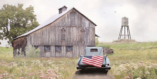 Lori Deiter LD1820 - LD1820 - Flag on Tailgate - 18x9 American Flag, Vintage, Truck, Barn, Water Tower, Meadow from Penny Lane