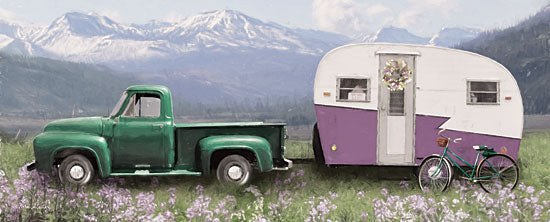 Lori Deiter LD1829 - LD1829 - Spring Camping with Bike - 18x6 Spring, Camper, Bicycle, Truck, Vintage, Mountains, Floral from Penny Lane