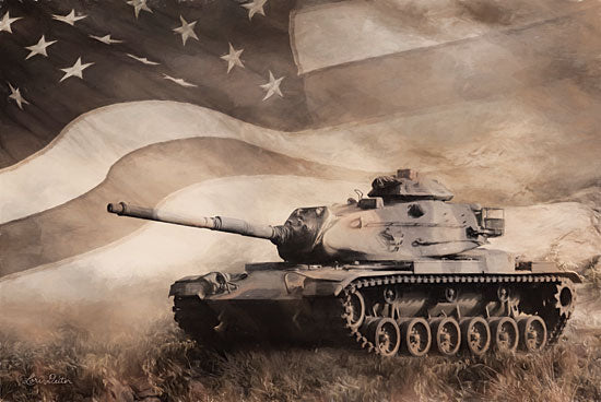 Lori Deiter LD1831 - LD1831 - The Liberator Tank - 18x12 Patriotic, Tank, American Flag, Military, Sepia from Penny Lane