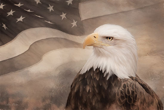 Lori Deiter LD1832 - LD1832 - US Symbols - 18x12 Patriotic, Bald Eagle, American Flag, Sepia from Penny Lane