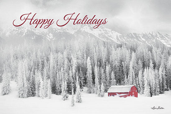 Lori Deiter LD1837 - LD1837 - Rocky Mountains Snow Storm with Barn  - 18x12 Signs, Typography, Photography, Happy Holidays, Barn, Trees, Mountains, from Penny Lane