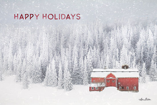Lori Deiter LD1840 - LD1840 - Snowy Forest Happy Holidays    - 18x12 Signs, Typography, Happy Holidays, Barn, Trees, Snow from Penny Lane