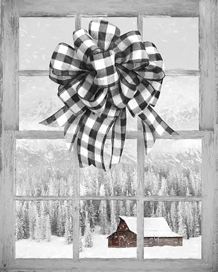 Lori Deiter LD1867 - LD1867 - Christmas Barn with Bow - 12x16 Window, Bow, Christmas, Barn, Trees, Mountains from Penny Lane