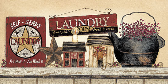 Linda Spivey LS1315 - Self Serve Laundry - Laundry, Saltbox Houses, Barn Star, Berries, Antiques from Penny Lane Publishing