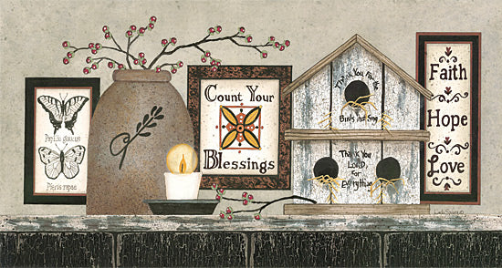 Linda Spivey LS1364 - Count Your Blessings - Birdhouse, Crocks, Butterflies, Berries, Signs from Penny Lane Publishing