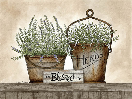 Linda Spivey LS1673 - Blessed Herbs - Galvanized Buckets, Blessed, Herbs, from Penny Lane Publishing