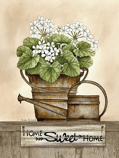 Linda Spivey LS1674 - Home Sweet Home Geraniums - Bucket, Watering Can, Home Sweet Home, Geraniums from Penny Lane Publishing