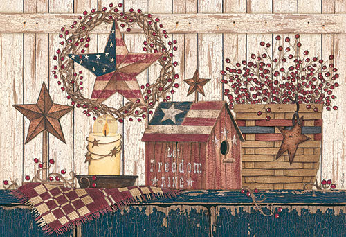 Linda Spivey LS1676 - Let Freedom Ring - Birdhouse, Basket, Berries, Wreath, Barn Stars, Wood Planks from Penny Lane Publishing