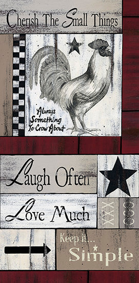 Linda Spivey LS1681 - Cherish the Small Things - Love, Laugh, Calligraphy, Rooster, Farm, Barn Star from Penny Lane Publishing