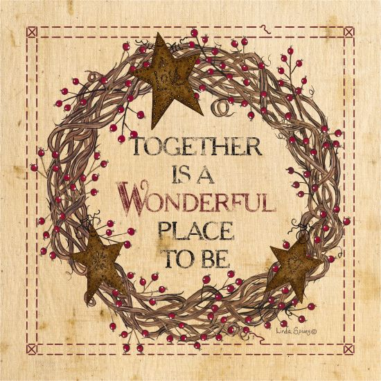 Linda Spivey LS1699 - Together is a Wonderful Place to Be Together, Grapevine Wreath, Rusty Stars, Rustic, Berries from Penny Lane