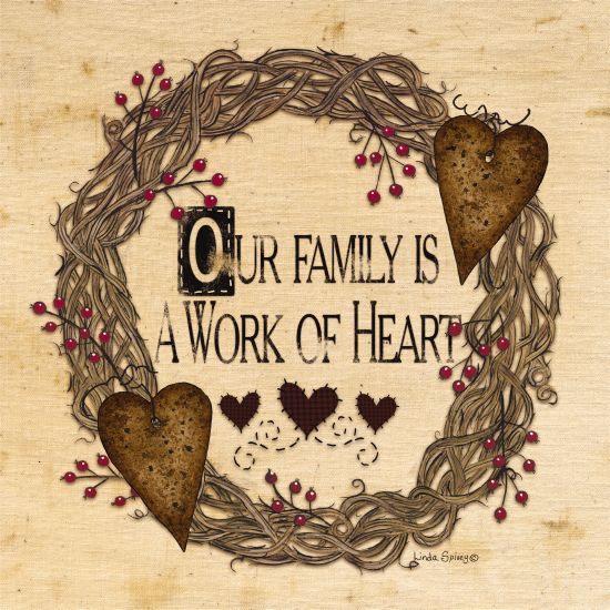 Linda Spivey LS1700 - Our Family is a Work of Heart Family Heart, Grapevine Wreath, Rusty Hearts, Berries, Rustic from Penny Lane