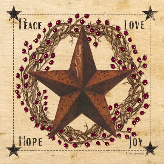 Linda Spivey LS1701 - Peace Love Hope Joy Barn Star, Rusty Star, Grapevine Wreath, Peace, Love, Hope, Joy, Rustic from Penny Lane