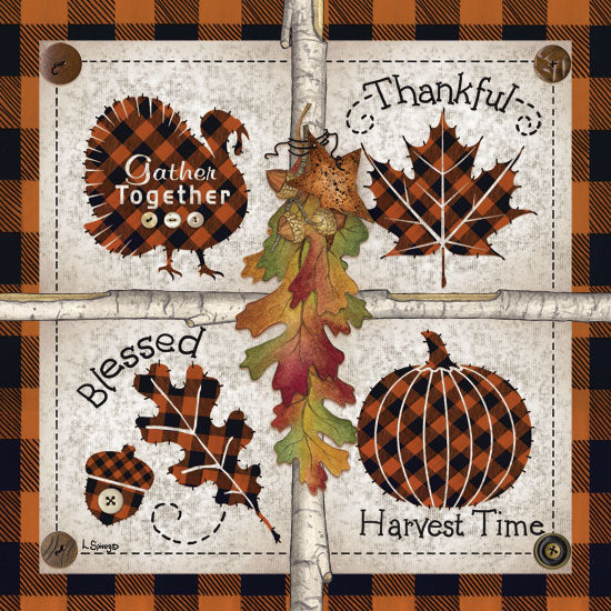 Linda Spivey LS1708 - Autumn Four Square Harvest Time Autumn, Buffalo Plaid, Thanksgiving, Harvest, Pumpkins, Icons, Signs from Penny Lane