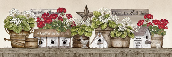 Linda Spivey LS1715 - Geranium Shelf Geraniums, Shelf, Still Life, Cherish, Flowers, Birdhouse, Watering Can from Penny Lane