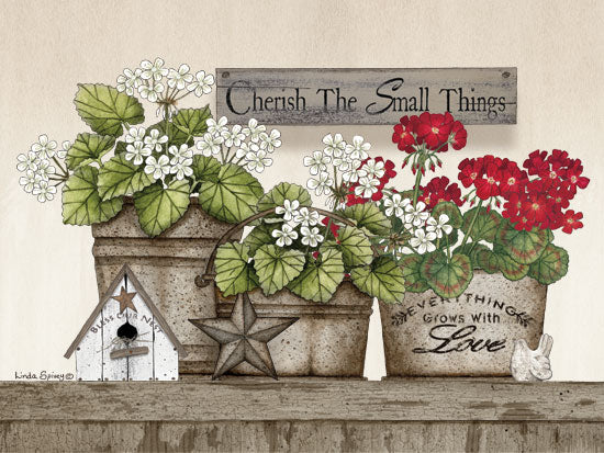 Linda Spivey LS1716 - Cherish the Small Things Geraniums Cherish the Small things, Geraniums, Flowers, Crocks, Bird's House from Penny Lane