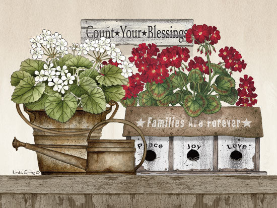 Linda Spivey LS1717 - Count Your Blessings Geraniums Count Your Blessings, Geraniums, Flowers, Birdhouse, Watering Can, Antiques from Penny Lane