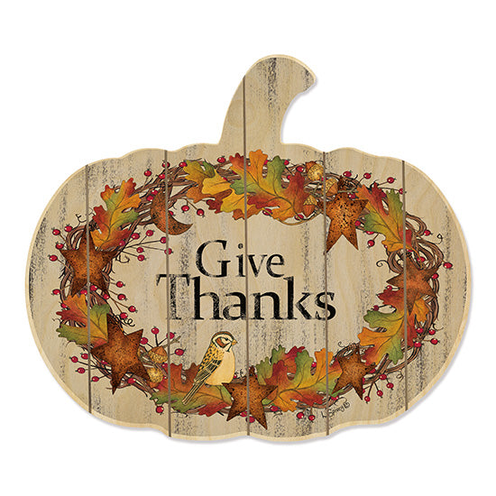 Linda Spivey LS1721PUMP - Give Thanks Wreath Give Thanks, Thanksgiving, Pumpkin, Buffalo Plaid, Leaves, Autumn, Wreath from Penny Lane