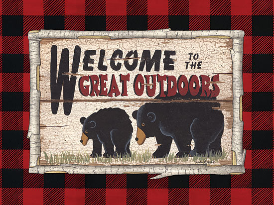 Linda Spivey LS1733 - Plaid and Bears - 16x12 Welcome, Great Outdoors, Bears, Buffalo Plaid, Plaid, Birch Tree, Frame from Penny Lane