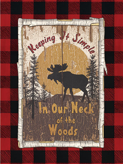 Linda Spivey LS1735 - Plaid Moose - 12x16 Moose, Sun, Keeping it Simple, Trees, Rustic, Buffalo Plaid, Birch Tree, Frame from Penny Lane