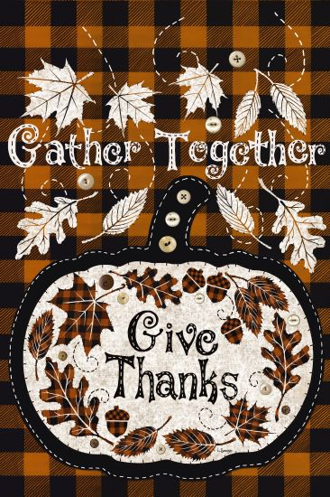 Linda Spivey LS1739 - Give Thanks - 12x18 Gather Together, Give Thanks, Pumpkin, Buttons, Rustic, Stitchery, Leaves from Penny Lane