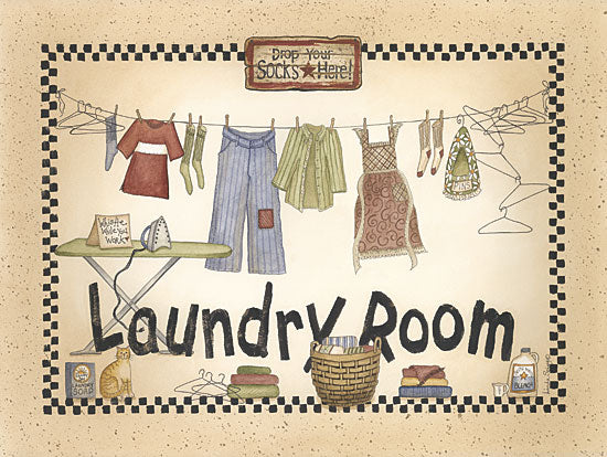 Linda Spivey LS929 - In the Laundry Room - Laundry Room, Clothes, Clothesline, Checkerboard from Penny Lane Publishing