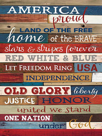 Marla Rae MA1093 - America Proud - America, Typography, USA, Americana, Wood Planks from Penny Lane Publishing